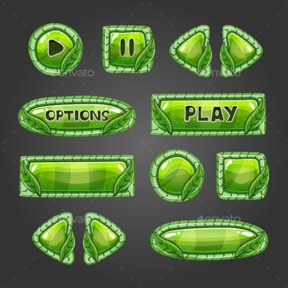 Cartoon Green Buttons with Leaves. - Web Technology