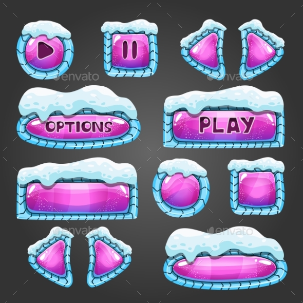 Winter Cartoon Pink Buttons with Snow. - Web Technology