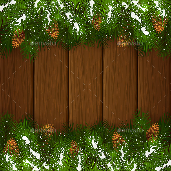 Christmas Fir Tree Branches with Pinecone on Wooden Background - Christmas Seasons/Holidays