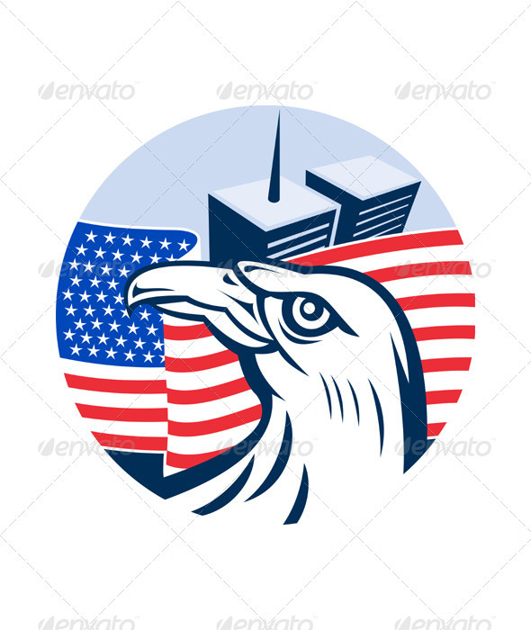 American Bald Eagle With Twin Tower Building - Animals Characters