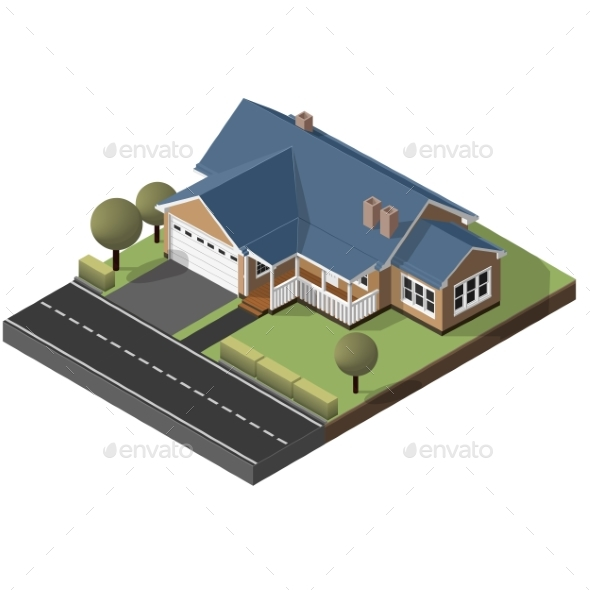 American Cottage Small Wooden House - Buildings Objects