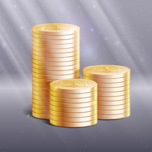 Stacks of Gold Coins, Vector Illustration. - Concepts Business