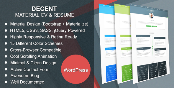 Decent | Material CV & Resume WordPress Theme
