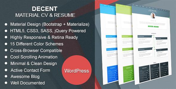 Decent | Material CV & Resume WordPress Theme