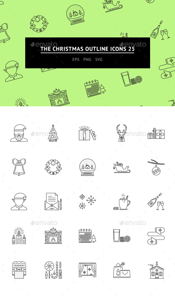 The Christmas Outline Icons 25 - Web Icons