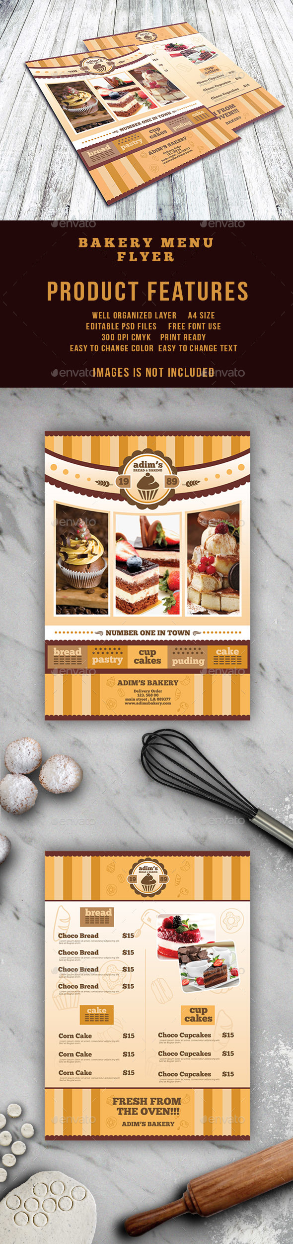 Bakery menu flyer template by adimasen graphicriver bakery menu flyer template food menus print templates altavistaventures Image collections