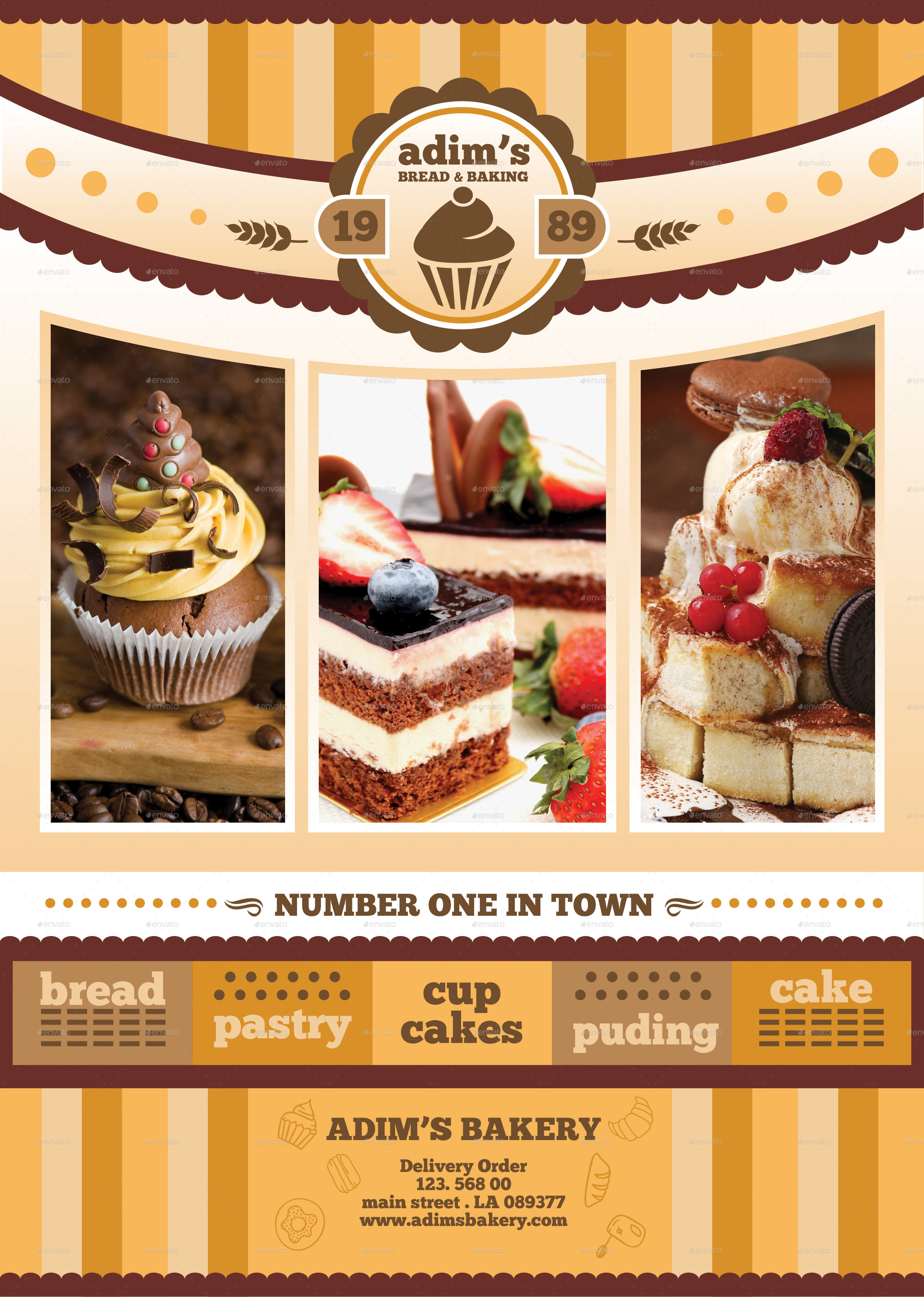 Bakery Menu Flyer Template By Adimasen GraphicRiver - Bakery brochure template