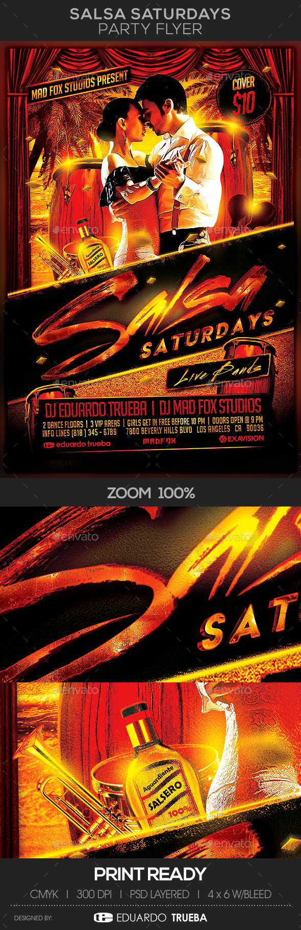 Salsa Saturdays with Live Bands Party Flyer - Events Flyers