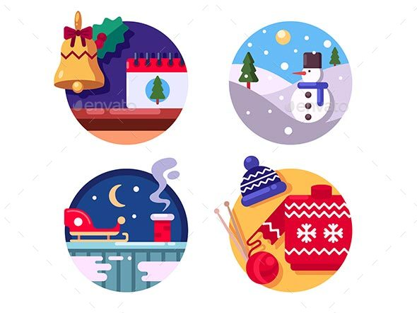 Winter Fun Holiday Christmas - Web Elements Vectors