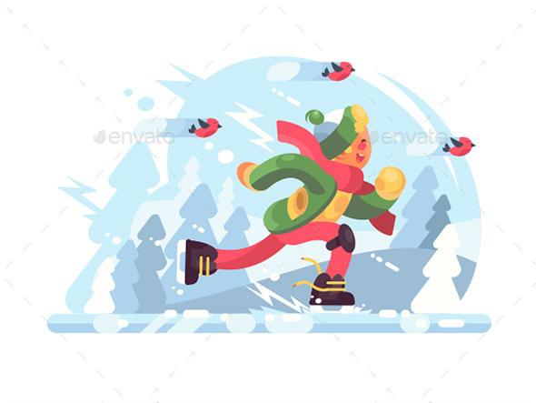 Young Boy Skating - Characters Vectors