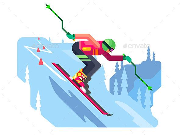 Slalom Downhill Skiing - Sports/Activity Conceptual