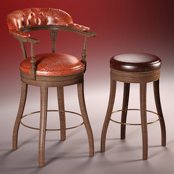 high quality 3d model of bar chairs the President - 3DOcean Item for Sale