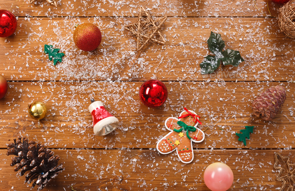Christmas Ornaments Background.Christmas Tree Decorations Prepare For Winter Holidays Background