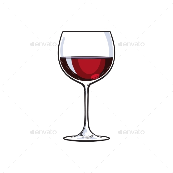 Red Wine Glass - Decorative Symbols Decorative