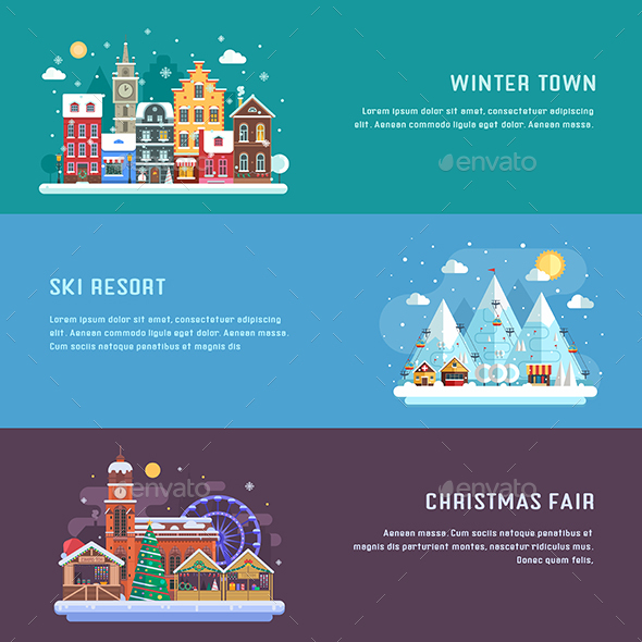 Winter Travel Banners - Buildings Objects