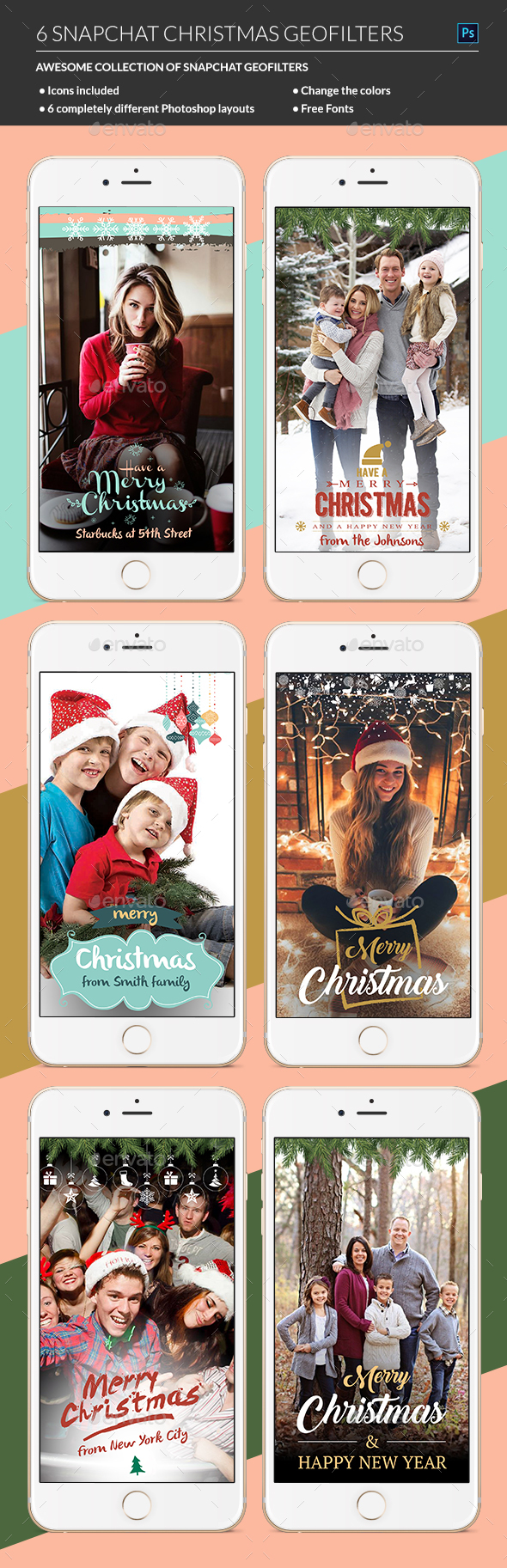 Christmas Snapchat Geofilters - Social Media Web Elements
