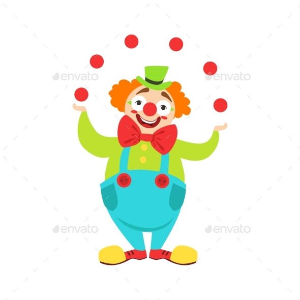 Circus Clown Artist in Classic Outfit with Red - People Characters