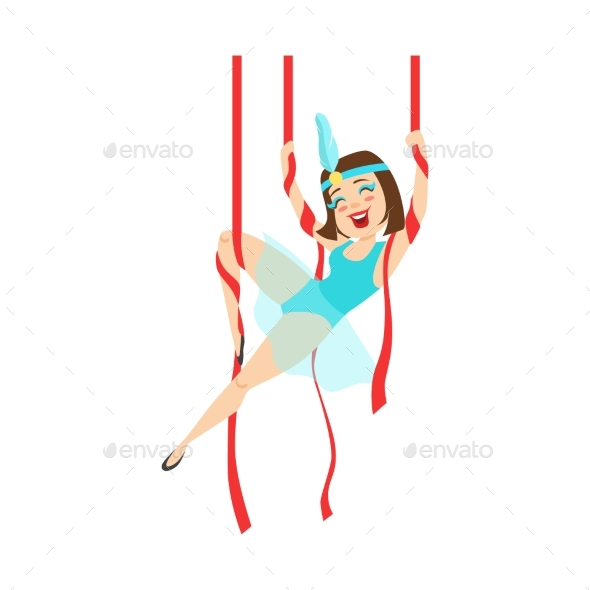 Circus Girl Acrobat in Blue Outfit Performing - People Characters