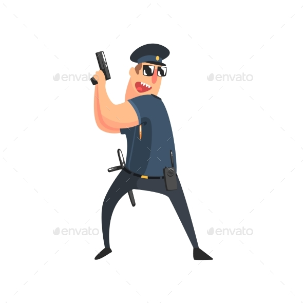 Policeman in American Cop Uniform - People Characters