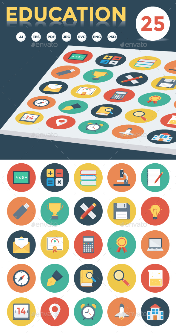 25 Education Flat Icons - Icons