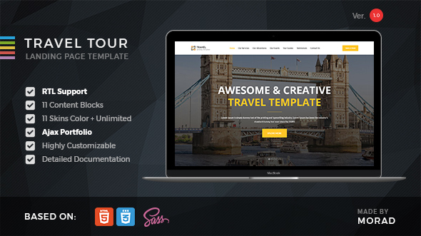 Travel Tour – Travel, Tourism & Agency HTML Landing Page