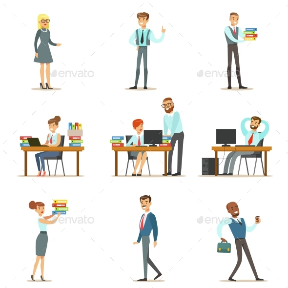 Happy Office Employees and Managers Working - People Characters