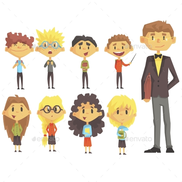 Elementary School Group of Schoolchildren - People Characters