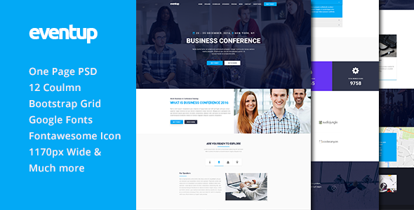 Eventup One Page Conference PSD Template - Events Entertainment