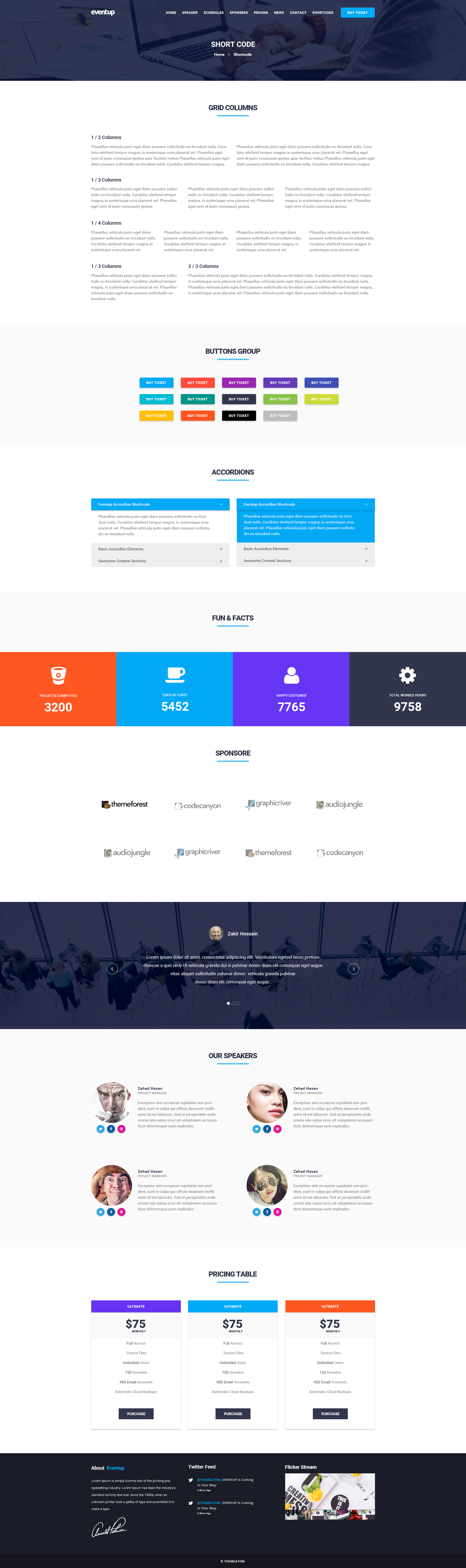 Eventup One Page Conference Psd Template By Theme Atom