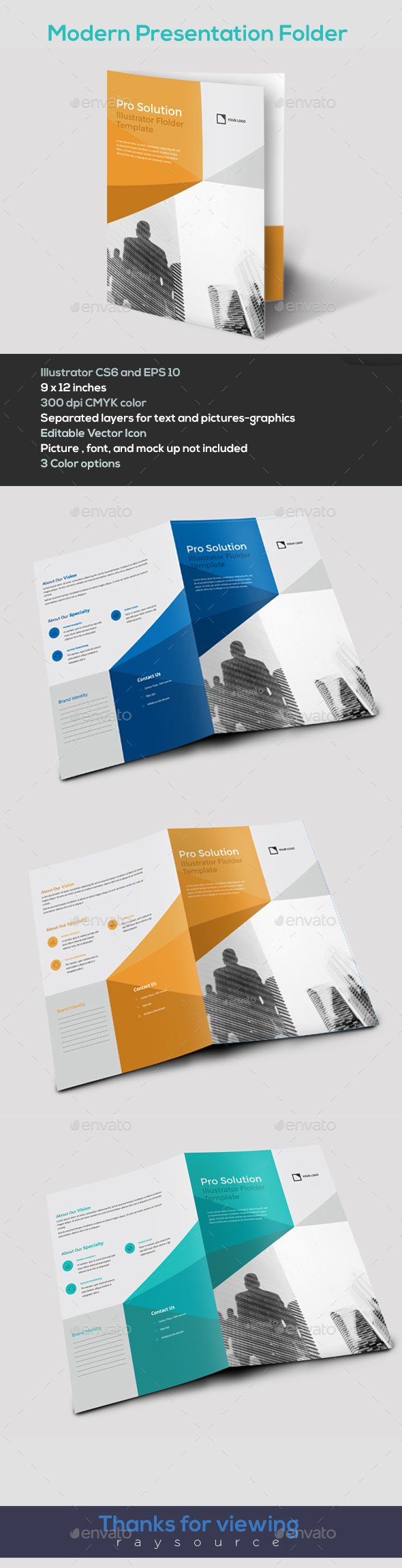 Modern Illustrator Folder template by raysource | GraphicRiver