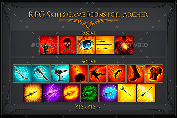 RPG Skill Icons for Archer - Miscellaneous Game Assets