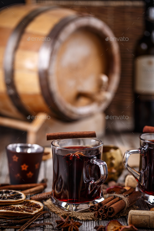 Mulled wine with cinnamon - Stock Photo - Images