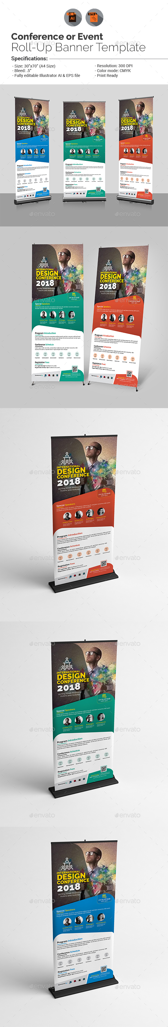 Conference or Event Roll-Up Banner Template - Signage Print Templates