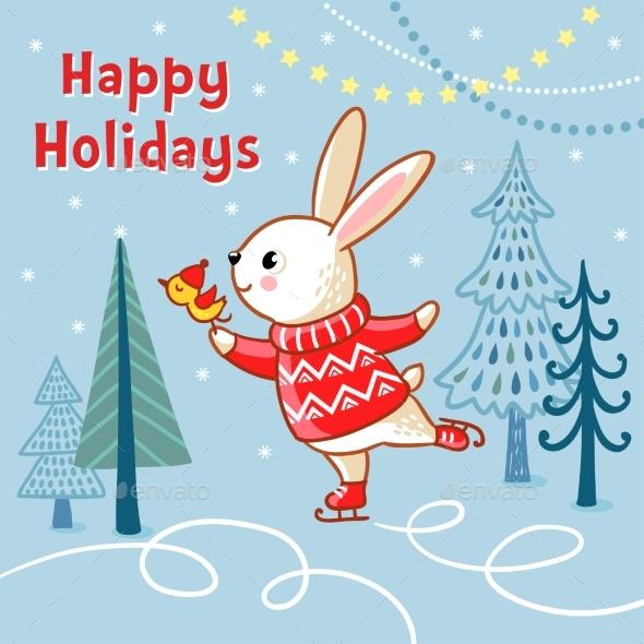 Christmas Card with a Hare Who Skates - Christmas Seasons/Holidays