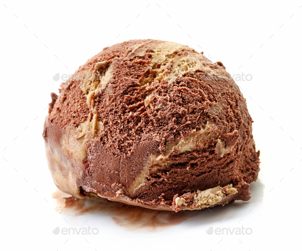 chocolate and peanut ice cream ball - Stock Photo - Images