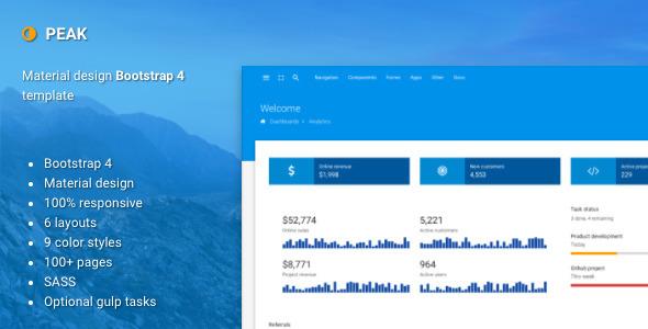 Peak -  Material design Bootstrap 4 admin template