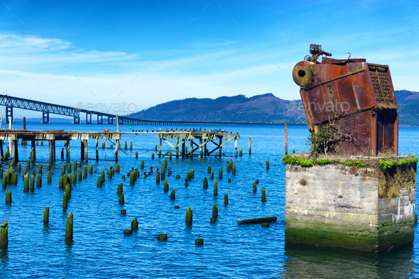 View from the Astoria, Oregon Waterfront - Stock Photo - Images