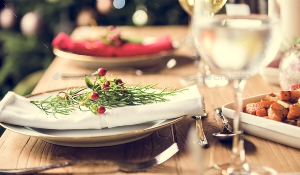 Christmas Family Dinner Table Concept - Stock Photo - Images