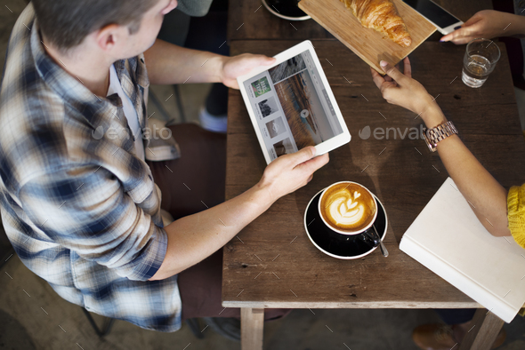 Coffee Shop Break Cafe Meeting Crosissant Concept - Stock Photo - Images