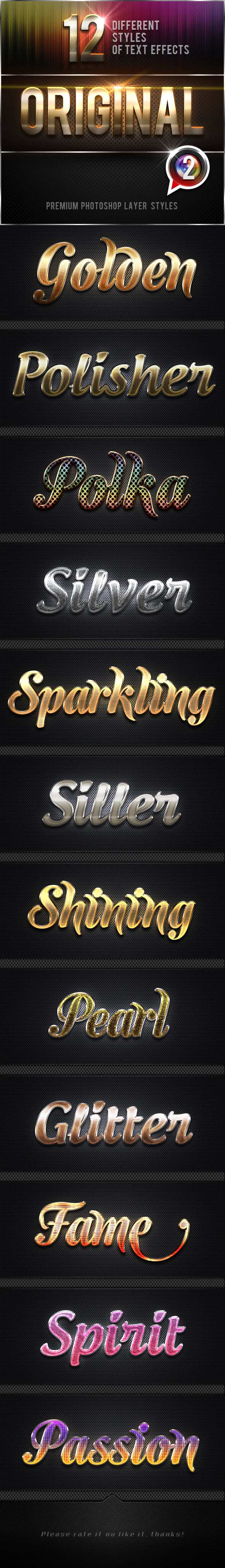 12 Original Photoshop Text Effects Vol.2 - Text Effects Styles