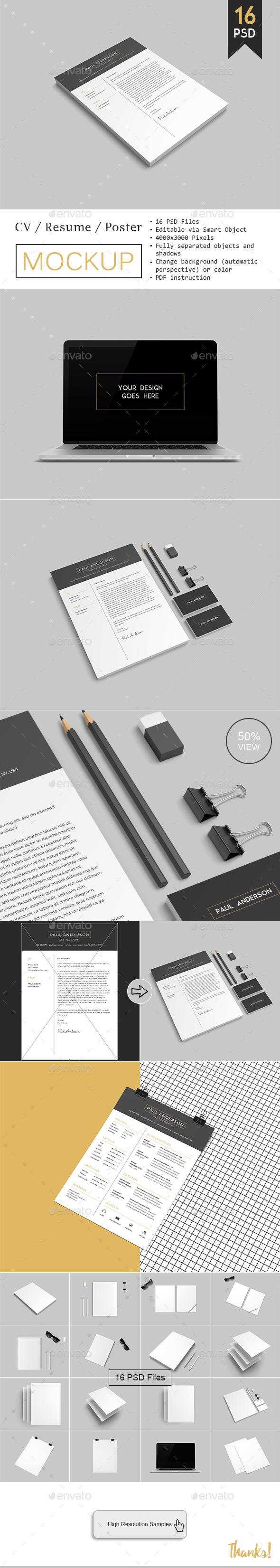 CV / Resume Mockup - Product Mock-Ups Graphics