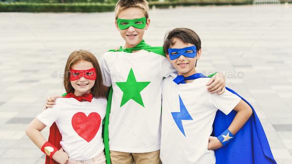 Superhero Boy Girl Brave Imagination Concept - Stock Photo - Images