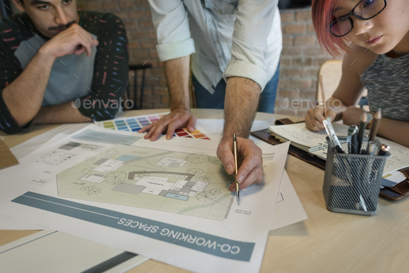 Design Studio Architect Creative Occupation Meeting Blueprint Co - Stock Photo - Images