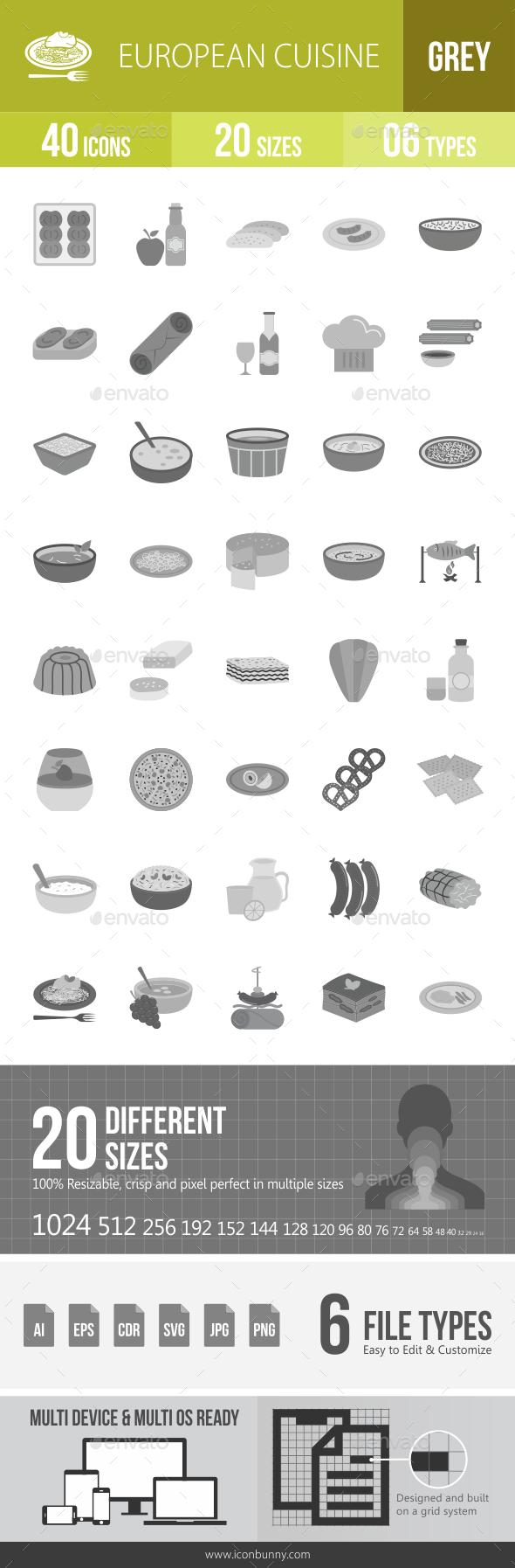 European Cuisine Greyscale Icons - Icons