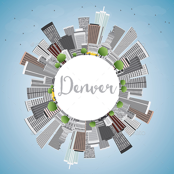 Denver Skyline with Gray Buildings, Blue Sky and Copy Space - Buildings Objects