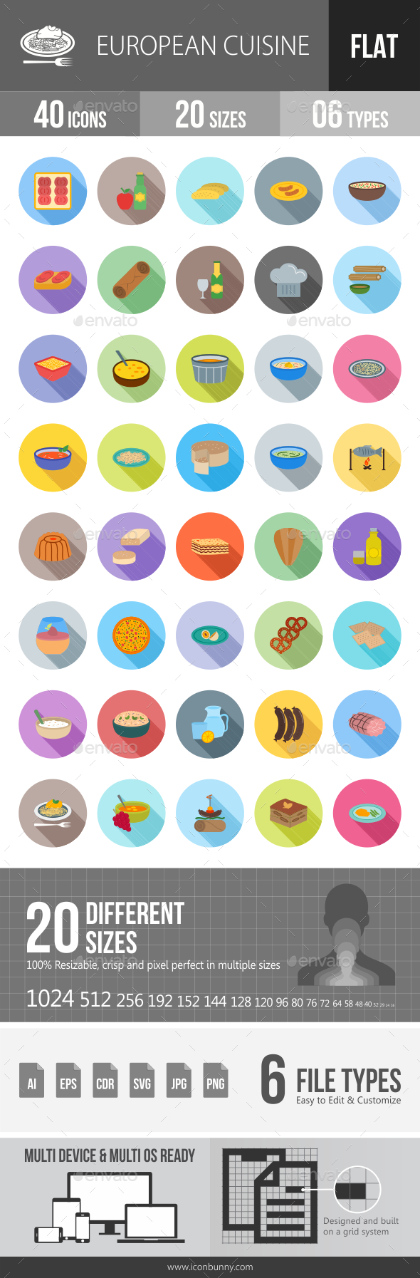 European Cuisine Flat Shadowed Icons - Icons
