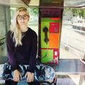Woman Sitting Telephone Skateboard Concept
