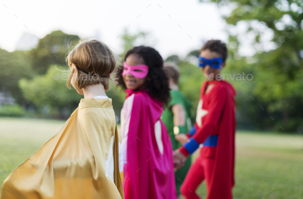 Superheroes Cheerful Kids Expressing Positivity Concept - Stock Photo - Images