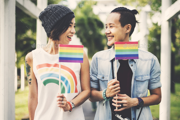LGBT Lesbian Couple Moments Happiness Concept - Stock Photo - Images