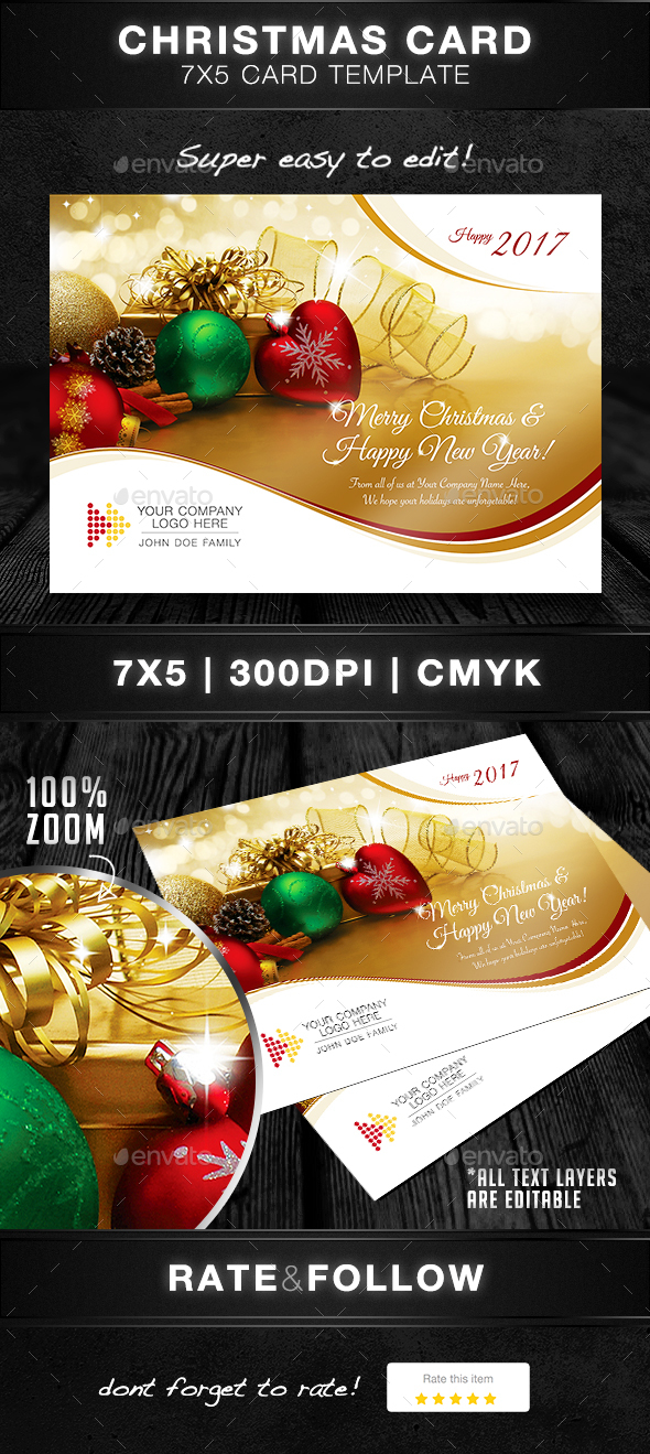 Christmas Card Template - Holiday Greeting Cards